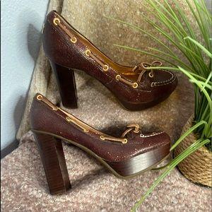 Platform Sperry Top-sided Cognac Heels 6.5